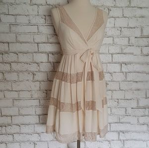 Max and Cleo Cream Lace Insert Cocktail Dress